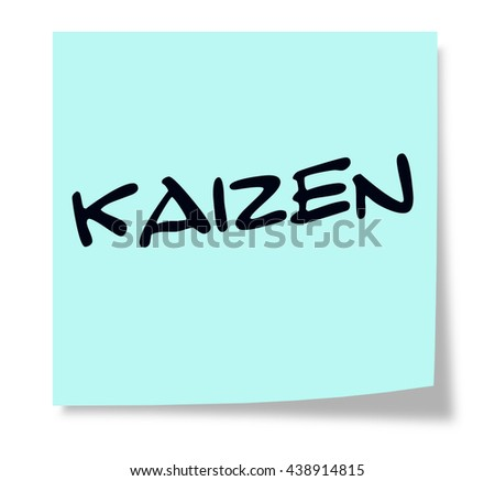 Kaizen written on a blue sticky note making a great concept. - stock photo