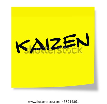Kaizen written on a yellow sticky note making a great concept. - stock photo