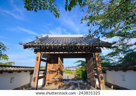 Kakegawa castle against sky background in Kakegawa-shi Shizuoka, Japan - stock photo