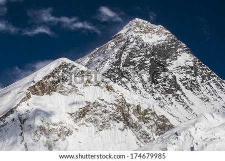 KALA PATTHAR, NEPAL - CIRCA OCTOBER 2013: view of the Everest from Kala Patthar circa October 2013 in Kala Patthar. - stock photo