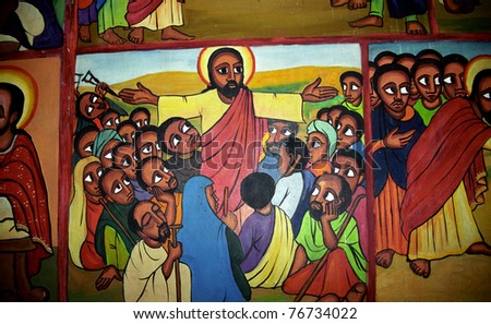 KALACHA, KENYA - DECEMBER 25: Black Jesus, 25. December 2004 at Kalacha, Kenya. Jesus is black in remote African villages. It is easier to accept Christianity with locals if Jesus is similar to them. - stock photo
