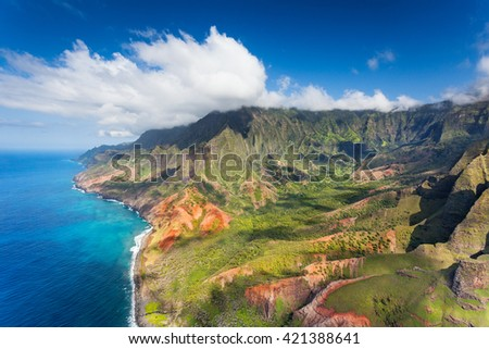Kalalau Valley in Na Pali State Park, Kauai, Hawaii - stock photo