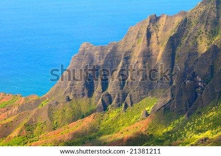Kalalau Valley on the Na Pali Coast of Kauai, Hawaii