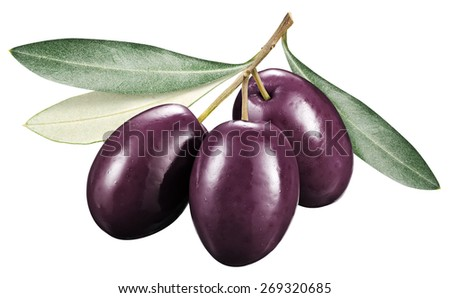 Kalamata olives with leaves on a white background. File contains clipping paths. - stock photo