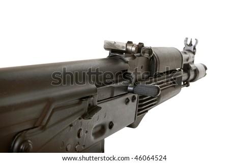 Kalashnikov AK-105 machine gun isolated on the white background - stock photo