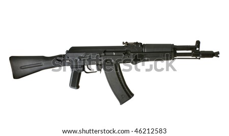 Kalashnikov AK-105 machine gun isolated on the white background - stock photo