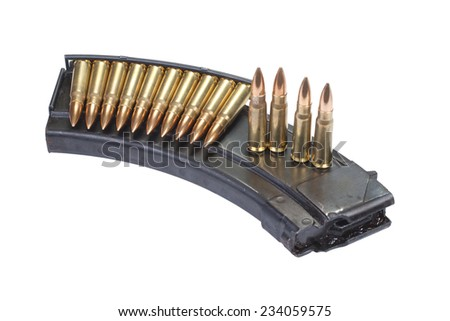kalashnikov cartridges with magazine isolated on white - stock photo