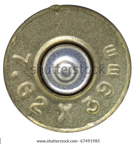 Kalashnikov rifle bullet head stamp isolated on white - stock photo