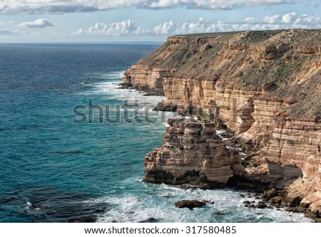 Kalbarri Batavia coast cliffs on the ocean in West Australia - stock photo