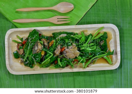 Kale fried salted fish