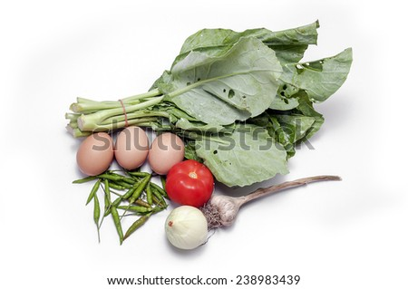 kale pepper garlic spices Isolated - stock photo