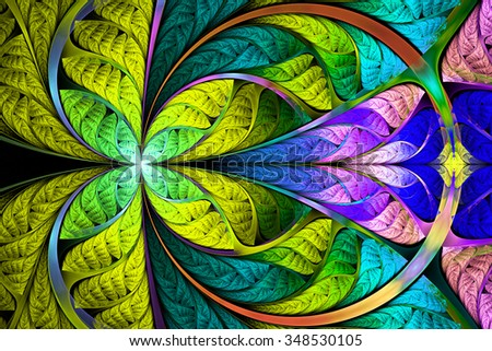 Kaleidoscope. Abstract fractal. Fractal art background for creative design. Decoration for wallpaper desktop, poster, cover booklet.  Psychedelic. Print for clothes, t-shirt. - stock photo
