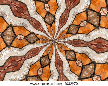Kaleidoscope effect repeating abstract pattern. - stock photo