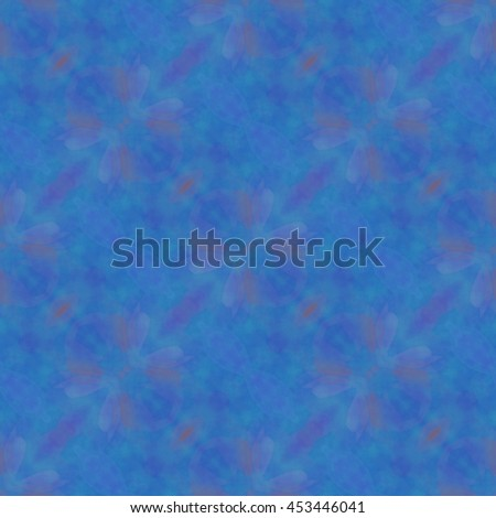 Kaleidoscopic blue flower design abstract ornament seamless pattern