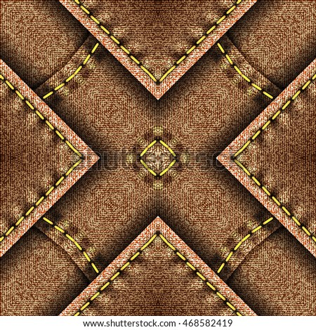 Kaleidoscopic brown denim with yellow thread pattern for design and background