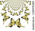 Kaleidoscopic Butterflies Illustration - stock photo