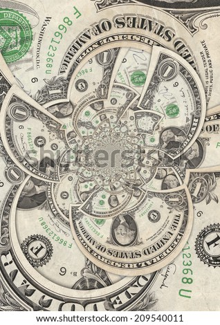 Kaleidoscopic Collage of Dollar Bills - stock photo
