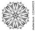 Kaleidoscopic floral pattern. Mandala in black and white - stock photo