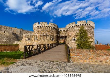 Kalemegdan fortress in Belgrade - Serbia - architecture travel background - stock photo