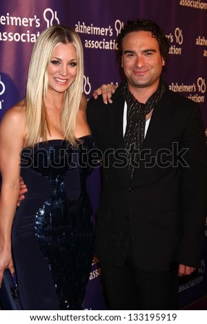 "Kaley Cuoco, Johnny Galecki at the 21st Annual ""A Night at Sardi's"" to Benefit the Alzheimer's Association, Beverly Hilton, Beverly Hills, CA 03-20-13"