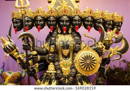 Kali statue inside ashram at thailand - stock photo