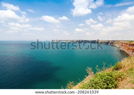 Kaliakra headland panoramic landscape, Bulgarian Black Sea Coast - stock photo