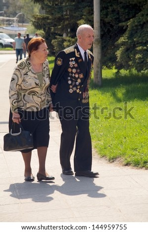 KALININGRAD, RUSSIA - MAY 07:  veterans of the World War II with their medals at street on during the victory celebration in World War II on May 07, 2013 in Kaliningrad, Russia