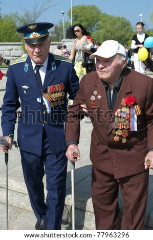 KALININGRAD, RUSSIA - MAY 9: Victory Day. The parade of veterans in honor of 66 anniversary of the victory on May 9, 2011 in Kaliningrad. Russia