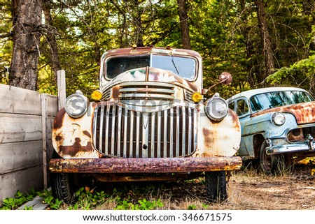 Kalispell, MT - August 2: Old cars and trucks in the junk yards on August 2, 2015 in Kalispell, MT.