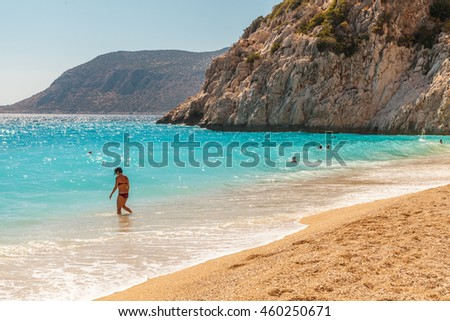 Kalkan - June 05: Kaputas - the most beautiful beach in Turkey. Kalkan, Turkey, June 05, 2016