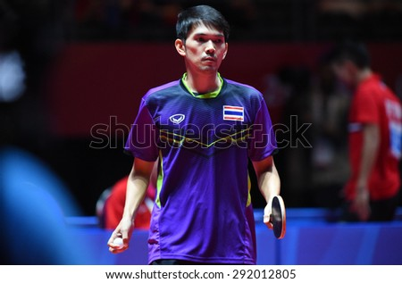 KALLANG,SINGAPORE-JUNE1:Chaisit.C of Thailand in action during the 28th SEA Games Singapore 2015 between Thailand and Indonesia at Singapore Indoor Stadium on June1 2015 in SINGAPORE.  - stock photo