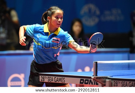 KALLANG,SINGAPORE-JUNE1:Orawan.P of Thailand in action during the 28th SEA Games Singapore 2015 between Thailand and Vietnam at Singapore Indoor Stadium on June1 2015 in SINGAPORE. - stock photo
