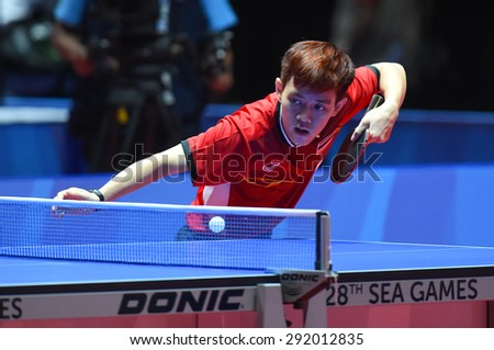 KALLANG,SINGAPORE-JUNE1:Padasak.T of Thailand in action during the 28th SEA Games Singapore 2015 between Thailand and Cambodia at Singapore Indoor Stadium on June1 2015 in SINGAPORE.  - stock photo