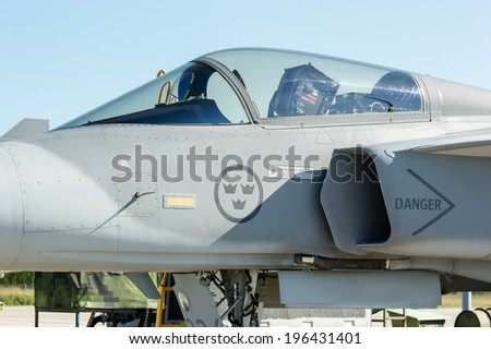 KALLINGE, SWEDEN - JUNE 01, 2014: Swedish Air Force air show 2014 at F 17 Wing. Front detail of JAS 39 Gripen aircraft.