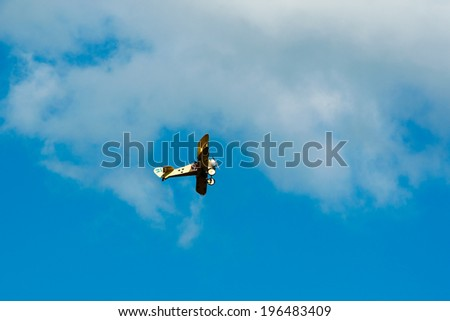 KALLINGE, SWEDEN - JUNE 01, 2014: Swedish Air Force air show 2014 at F 17 Wing. FVM Tummelisa single engine Swedish advanced trainer biplane replica. Airborne.