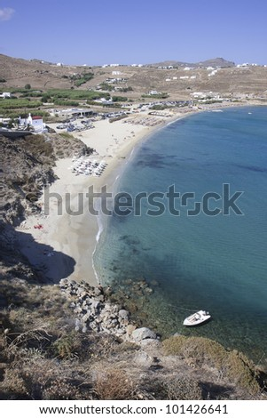 Kalo Livadi beach in Mykonos, Cyclades, Greece - stock photo