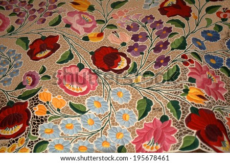Kalocsa-style handmade embroidery from Hungary - stock photo