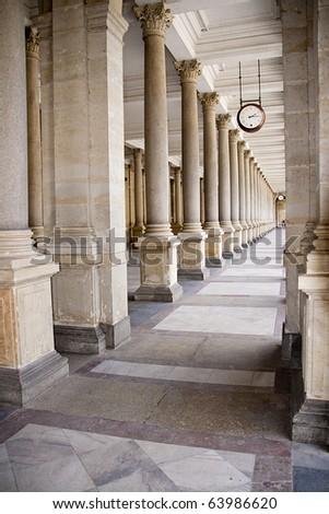 Kalovy Vary, the hall of the palace, Czech Republic - stock photo