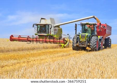 Kalush, Ukraine - August 4: Overloading grain harvester in tractor trailer tank in the field near the town Kalush, Western Ukraine August 4, 2015 - stock photo