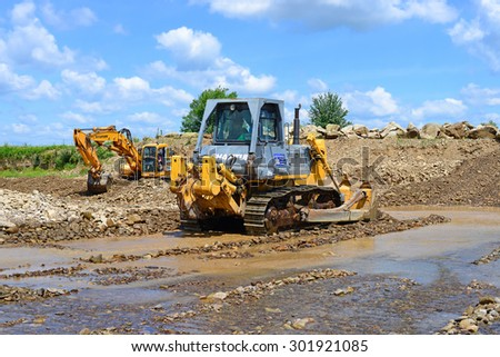 Kalush, Ukraine - July 2: On the construction of a protective dam near the town of Kalush, Western Ukraine July 2, 2015