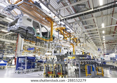Kaluzhsky region, RUSSIA - june 16: Car's body (Mitsubishi Outlander) is going pipeline at automotive Mitsubishi (PASM) plant on june 16, 2015 - stock photo