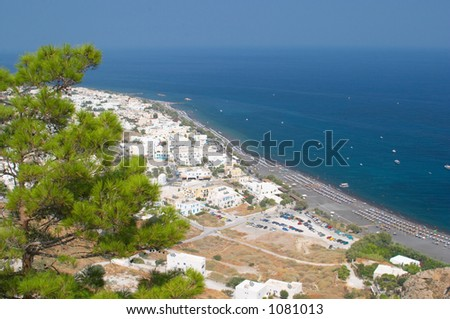 Kamari beach, Santorini, Greece - stock photo