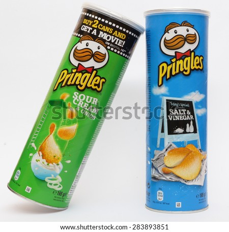 KAMBERK, CZECH REPUBLIC - JUNE 3, 2015: Pringles Original potato chips.