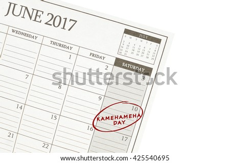 Kamehameha Day 10 June 2017 Calendar isolated on white background