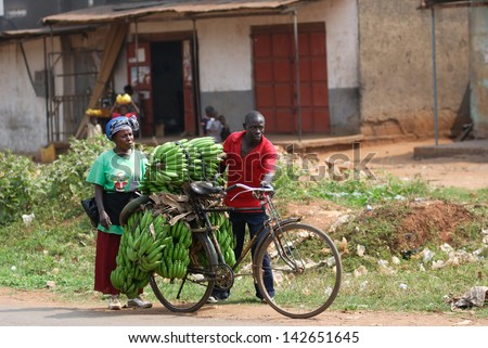 KAMPALA, UGANDA - AUG 26: Native people carry bananas by bike on Aug 26, 2010 in slum of Kampala. Nearly 40% of slum dwellers have a monthly income of just 2,500 shillings -?? less than a dollar - stock photo
