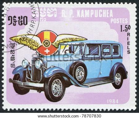 KAMPUCHEA-CIRCA 1984: A stamp printed in the Cambodia, depicts a classic car Hispano-Suiza, circa 1984 - stock photo