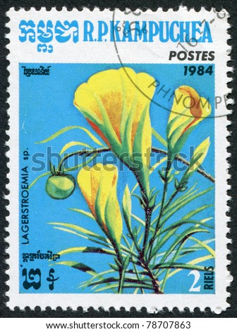 KAMPUCHEA-CIRCA 1984: A stamp printed in the Cambodia, depicts a flower Lagerstroemia speciosa, circa 1984