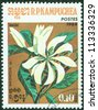 KAMPUCHEA-CIRCA 1984: A stamp printed in the Cambodia, depicts a flower Magnolia (disambiguation), circa 1984 - stock photo