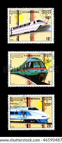 KAMPUCHEA - CIRCA 1989: Obsolete canceled postage commemorative honoring railroad locomotives, circa 1989, Kampuchea - stock photo