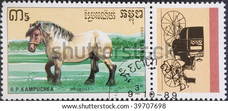 Kampuchea - Phnom Penh, circa 1989: Postal stamp Kampuchea 1989. Vintage stamp depicting an breed of horse Belgian Heavy Draft circa 1989 - stock photo